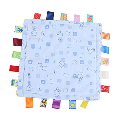 Toalla apaciguadora, cómoda toalla de baño para bebé suave con etiquetas de colores para agarrar la audición del bebé para los sentidos(azul)