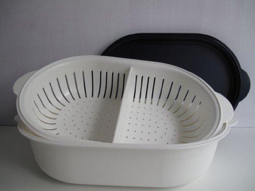 TUPPERWARE Küchenhelfer Sieb Super Servierstar 4,0 L dunkelblau-weiß Küchenchef