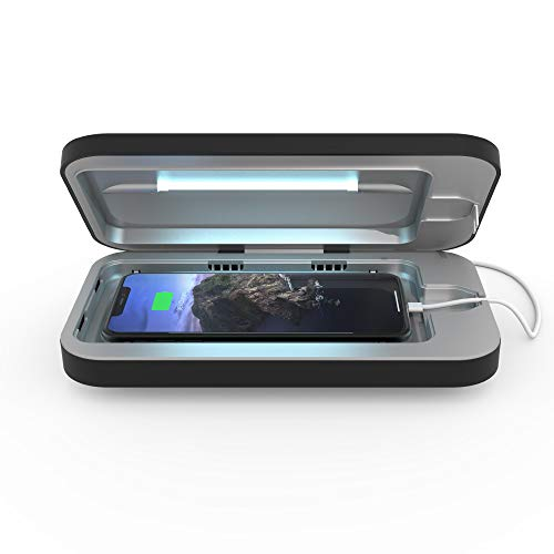 PhoneSoap 3 UV Cell Phone Sanitizer and Dual Universal Cell Phone Charger | Patented and Clinically Proven 360 Degree UV Light Sanitizer | Cleans and Charges All Phones (Black)