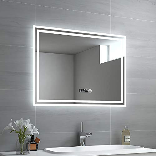 EMKE LED Badspiegel 80x60cm Beleuchtung Badezimmerspiegel Wandspiegel mit Touch-Schalter, Uhr