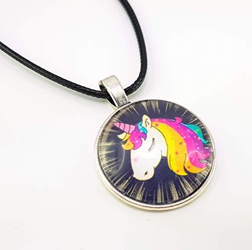 Stechschmuck Halskette mit Anhänger Handmade Einhorn Unicorn Amulett Medaillon Talisman Fantasy Fantasie Silber Farben mit Lederband 27mm Damen Kinder