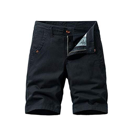 Cargo-Shorts Herren Sommer Button Freizeithose Multi-Pocket Overalls Shorts Fashion Kurze Hose, Schwarz, 34W