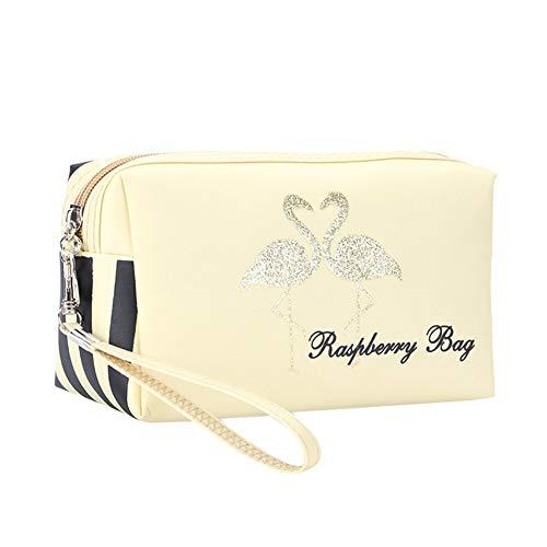 Skyeye Trousse de maquillage de voyage de grande capacité, trousse de toilette, trousse de maquillage portable pour femmes et filles (flamant rose)