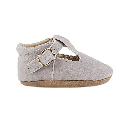 Babe Basics, Baby Girls Genuine Leather Mary Janes, Toddler Stylish Easy to Wear Footwear - 0-6m, Grey Suede