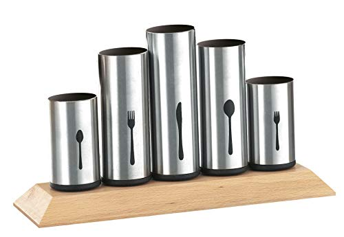Esmeyer Pipes - Portaposate Pipes con 5 Supporti Non Regolabili in Acciaio Inox, per rispettivamente 12 coltelli, forchette, cucchiai, cucchiaini e forchette da Dessert