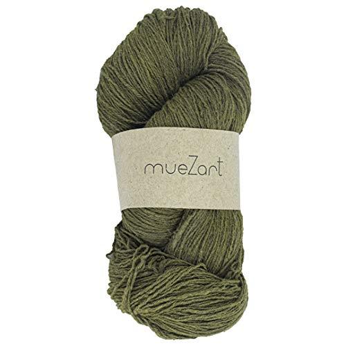 Muezart Erino Yarn | 100% Natural Eri Silk & Merino Wool Blended Yarn | 100g Skein 500 Yards (Approx) | 15/3 Fingering | Weaving, Crocheting, Knitting | Naturally Plant Dyed by Hand | Turtle Green