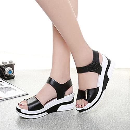 DZQQ 2021 Nouveau Style de Mode décontracté Femme Chaussures Femme été compensé Sandales Confortables Dames Sandales Plates Mode été Cales