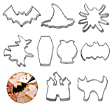 LAITER 9 PCS Formine per Biscotti Stampi per Biscotti Acciaio Inossidabile Molti Tipi Pipistrelli Gufi Streghe Bambini DIY Decorazioni Dolci Biscotti