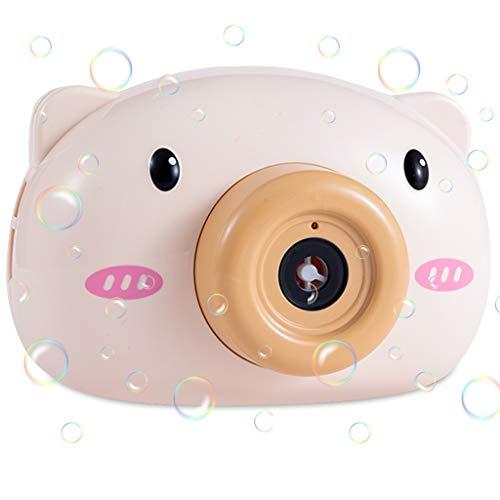 Máquina de burbujas en forma de cámara de Cerdo lindo, Soplador de burbujas automática con luz música y muchos Burbujas Máquina de Pompas para Niños, Juguetes de Regalo de Verano al Aire Libre(marrón)