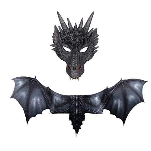 Oyedens Halloween Maske Kinder Halloween Cosplay Dinosaurier Flügel + Drachen Maske Fantasy Halloween Dinosaurio Dragon Kostüm Cosplay Tiermaske Flügel Zubehör