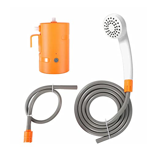 ABOOFAN Cabezal de Ducha Portátil de Campamento para Mascotas con Rociador de Ducha Manual de Aseo con Bomba de Luz LED para Jardín Aire Libre Bañera Ducha Coche Lavado Naranja