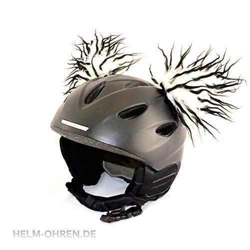 Helm-Ohren für den Skihelm, Snowboardhelm, Kinder-helm, Kinder-Skihelm, Motorradhelm oder Fahrradhelm - verwandelt den Helm in ein EINZELSTÜCK - der HINGUCKER - für Kinder und Erwachsene HELMDEKO (Weiß-Schwarz)