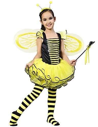 IKALI Hummel Bienen kostüm für Kinder Mädchen, Feen Tutu Rock Ballett Kleider