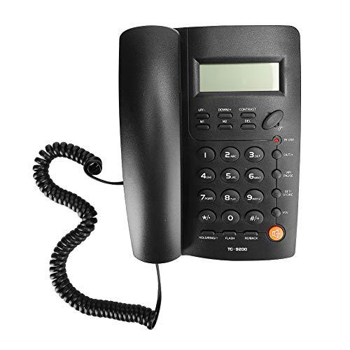 Lazimin Teléfono Fijo, identificación de Llamadas Manos Libres en Negro ABS, teléfono con Cable, Soporte para Volver a marcar y devolver la Llamada, para el Hotel de Oficina de Negocios Familiares
