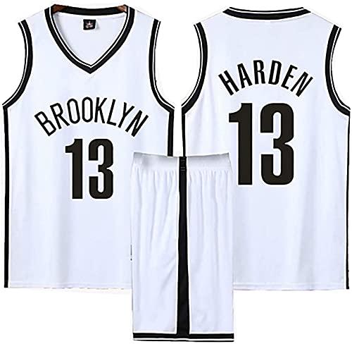 Camiseta de baloncesto para hombre conjunto para niños adultos, NBA Nets # 13 James Harden kits de competición camiseta y pantalones cortos malla tela transpirable ropa deportiva,Blanco,4XL