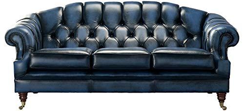 Chesterfield Victoria - Sofá de piel auténtica hecha a mano (3 plazas), color azul