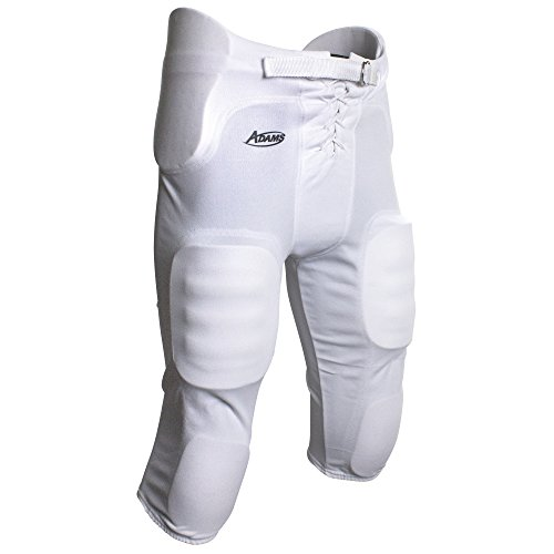 Adams All-in-One Youth Football Pants with Integrated Pads, White, Medium
