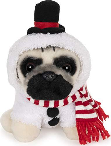 """GUND Doug The Pug Snowman Holiday Plush Stuffed Animal Dog, 5"""""""