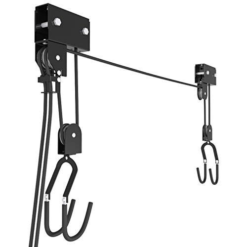 RAWBOND® Universal Deckenlift für bis zu 57 kg - Praktischer Fahrradlift mit Seilzug für deine Garage - Fahrradaufhängung Decke mit Notfallbremsmechanik