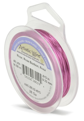 Artistic Wire Beadalon 40 914 28 g Câble plaqué argent/Rose