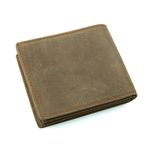Wennew Brieftasche Herren Folded Magnanimous Capacity Echtlederband Geldbörsen Recycling Pop Freizeit Multi-Funktion (Farbe : Braun)