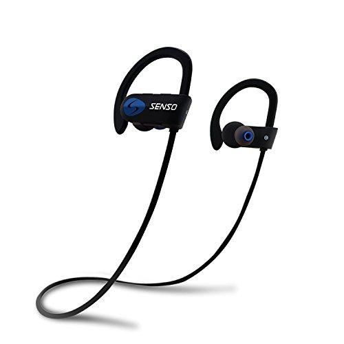SENSO Bluetooth Headphones, Best Wireless Sports Earphones w/Mic IPX7 Waterproof HD Stereo Sweatproof Earbuds for Gym Running Workout 8 Hour Battery Noise Cancelling Headsets (Black Blue)