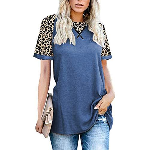 YYH Dames T-shirt Luipaard Print Tops Korte Mouw Crew Neck T Shirt Basic Casual korte mouw Shirt XL Blauw