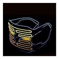 Kloxi LEDルミナスメガネハロウィーン光るネオンクリスマスパーティーブリル点滅ライトグローサングラスグラス祭用品コスチューム (Color : H)