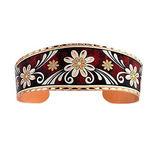 Pulseras de flores de margaritas con fondo rojo, pulseras de cobre de extremo abierto, joyas...