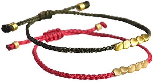LUCKY BUDDHIST Tibetan Pulseras de la Suerte + Colgante/Collar! Amuletos para Mujeres Hombre Adolescente, tamaño Ajustable. Muñequeras de Amistad, Hecho a Mano de Cuerda. Cuentas De Cobre Rojo, Verde