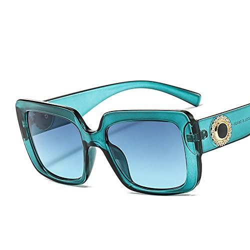 Powzz ornament Gafas de sol cuadradas para mujer, gafas de sol rectangulares con diamantes de moda Retro para mujer, gafas transparentes para mujer, Ladies-6_Universal