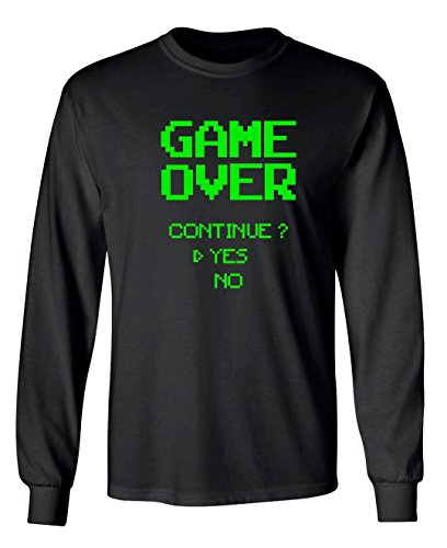Funny Gamer Video Gaming Game Over Continue? Yes No Graphic Design Long Sleeved T-Shirt - X-Large (Black)