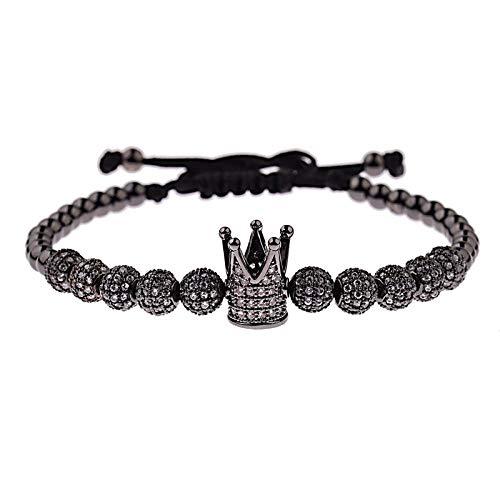 Pulsera Pulsera De Lujo para Hombre Crown Ball Charms Jewelry Macrame Beads Pulseras Braiding Men Jewelry para Mujer Pulsera Gift Black