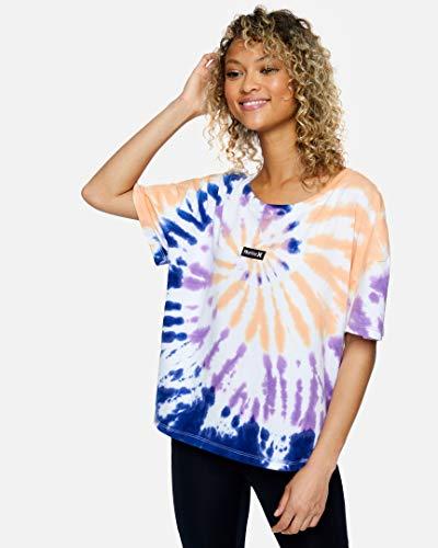 Hurley W OAO Tie Dye Flouncy tee Camiseta, Mujer, White, S