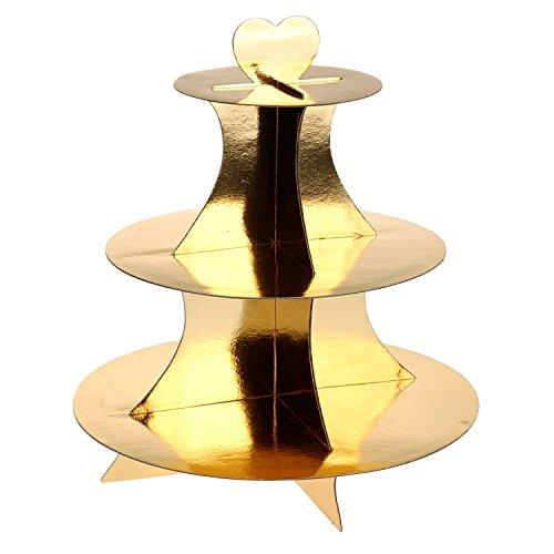 Excellent Houseware - Espositore per pasticcini a 3 ripiani, stile natalizio, in cartone Gold