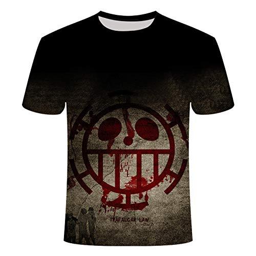 TJJS Camiseta de Verano con impresión 3D, Camiseta de Grupo de Sombrero de Paja de Anime, Camisetas Casuales Sueltas para Hombre, Camiseta para Hombre, Camiseta fresca-4XL