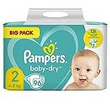 Pampers Baby-Dry - Pañales para bebé (tamaño 2, 96 pañales, hasta 12 horas de protección total, 4-8 kg, 2 paquetes de 1,65 kg)