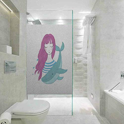 Home Bathroom Toilet Decorative, Girls Illustration of a Teenage Girl with Closed Eyes a, Easy to Install and Reuse Glass Film, W17.7xH78.7 Inch