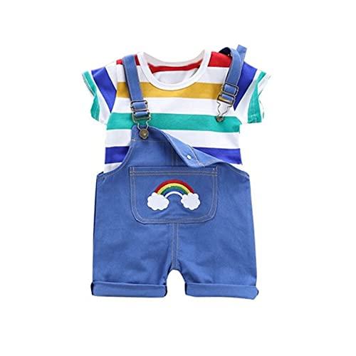 Wexuua Conjunto de ropa para bebé, niño, niña, verano, recién nacido, arco iris, manga corta, camiseta y pantalones cortos azul 9-12 Meses