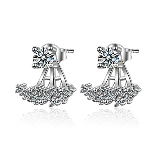 QYTSTORE S925 Sterling Silver Simple Inlaid Zircon Gorgeous Earrings, Size: 1.5 * 1.3 Cm, Fashionable And Luxurious Engagement Jewelry, Fashionable Earrings For Women Beautiful and stylish