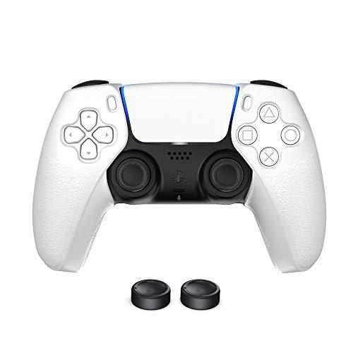 A tampa de silicone dividida TwiHill é adequada para controlador de jogo sem fio PS5, tampa protetora com tampa de botão para controlador sem fio PS5 tampa protetora de silicone Acessórios PS5 (Branco)