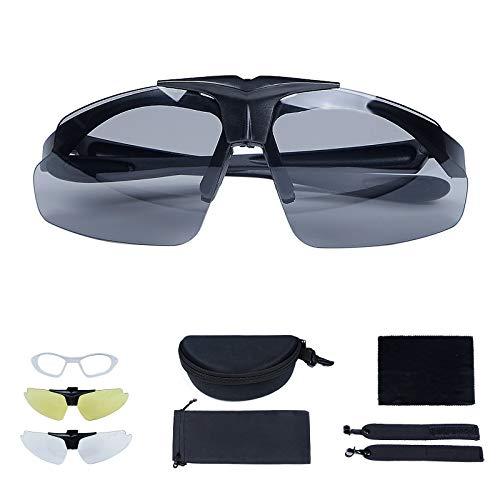 Huntvp Taktische Brille mit 3 Wechselobjektiv, Militär Sonnenbrille Sport FahrradbrilleArmee Schutzbrillen fürJagd Laufen AirsoftMotorradRadfahren Outdoor, Schwarz
