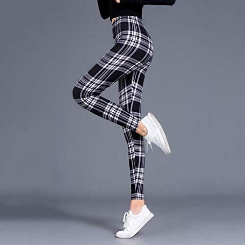 YHWW Leggings,Leggings Frauen Sexy Hosen Push Up Leggings Mode Fitness Leggins Fitnessstudio Sporting Plus Size Hose mit hoher Taille, schwarz weiß kariert, S.