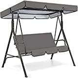 Patio Swing Canopy Waterproof Top Cover Set, Courtland Swing Replacement Awning Canopy Cover for Swing Chair Glider All Weather Protection Outdoor Garden Furniture Covers (Gray, Three-seater64.56in) -  JHGF