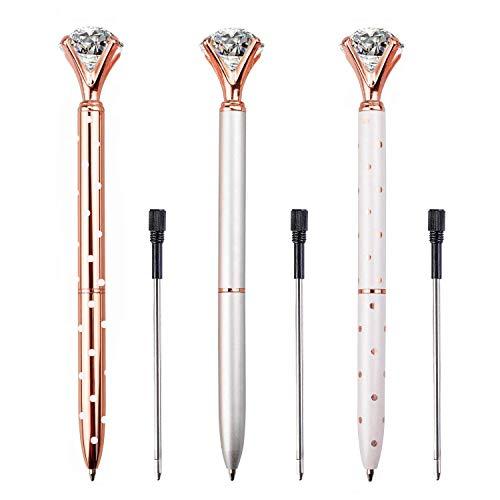LONGKEY 3PCS Diamond Pens Big Crystal Diamond Ballpoint Pen Bling Metal Ballpoint Pen Offices and Schools, Silver/White With Rose Polka Dots/Rose Gold with White Polka Dots, Includes 3 Pen Refills. Photo #4