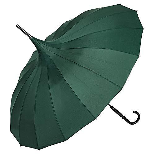 VON LILIENFELD Regenschirm Sonnenschirm Stabil Stockschirm Pagode Charlotte grün