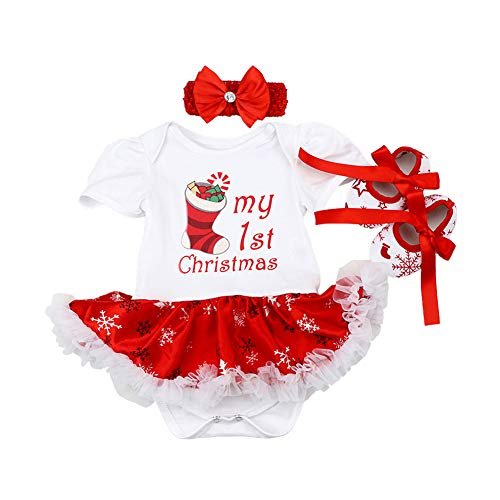 ODASDO Baby Girl My First Christmas Outfit Newborn Infant 1st Xmas Party Clothes Set Cotton Short Sleeve Princess Tutu Romper Dress + Bowknot Headband + Shoes 3pcs Clothes Set Photo Props White 0-3M