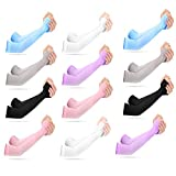 erduoduo 12 Pairs Sun Sleeves for Women/ Men,UV Protection Arm Sleeves,Tight Sun Sleeves for Outdoors(6 Colors)