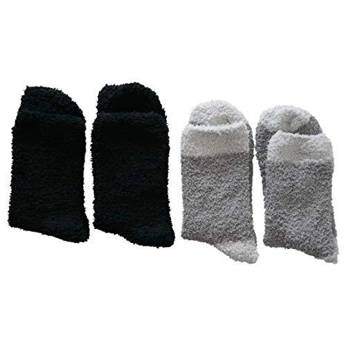 4 Paar Kuschelsocken 35-42 Uni und Motiv Bettsocken Damen Kuschel Socken Haussocken (2x Schwarz +2x Grau)