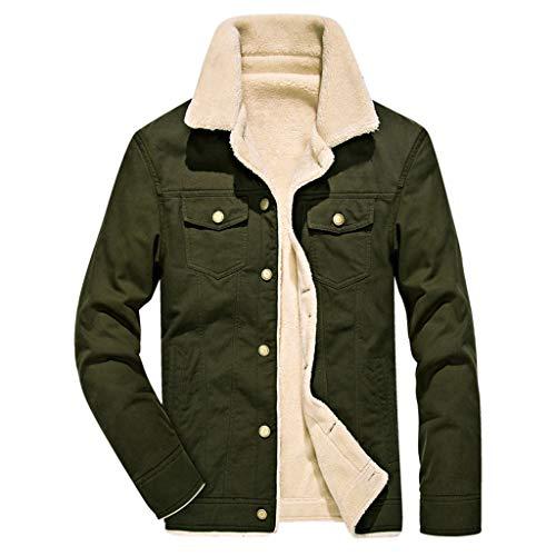 YULINGSTYLE Herren Warme Künstliche Wollmantel Jacke Revers Pelzkragen Jacke Button Parka Stepp Herbst Winter Übergangsjacke